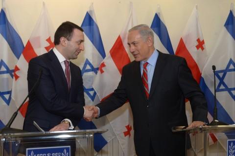 בנימין נתניהו עם ראש ממשלת גאורגיה אירקלי גריבשוילי